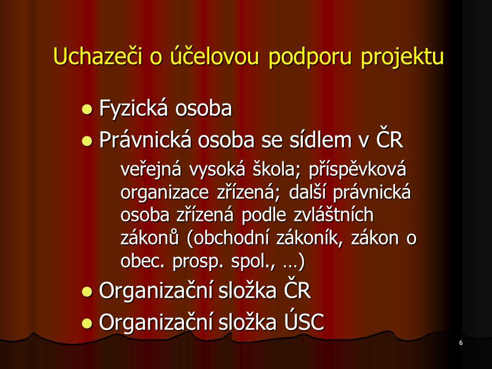 7 Každý uchazeč je povinen prokázat svoji způsobilost k řešení navrhovaného projektu Prokazuje se u návrhů projektů podle § 18 zákona.