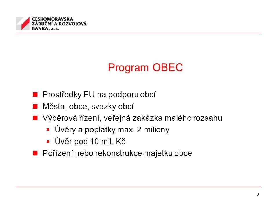 3 Program OBEC Prostředky EU na podporu obcí Města, obce, svazky obcí Výběrová řízení, veřejná zakázka malého rozsahu  Úvěry a poplatky max.