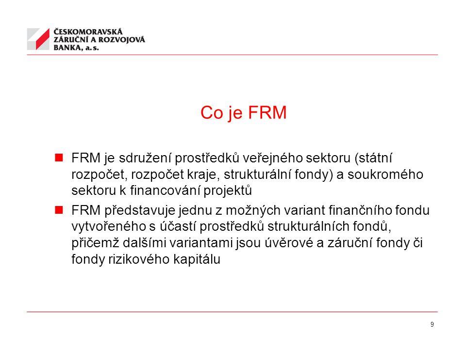 9 Co je FRM FRM je sdružení prostředků veřejného sektoru (státní rozpočet, rozpočet kraje, strukturální fondy) a soukromého sektoru k financování projektů FRM představuje jednu z možných variant finančního fondu vytvořeného s účastí prostředků strukturálních fondů, přičemž dalšími variantami jsou úvěrové a záruční fondy či fondy rizikového kapitálu