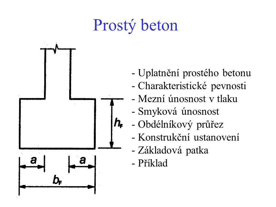 Prostý beton - Uplatnění prostého betonu - Charakteristické pevnosti - Mezní únosnost v tlaku - Smyková únosnost - Obdélníkový průřez - Konstrukční ustanovení - Základová patka - Příklad