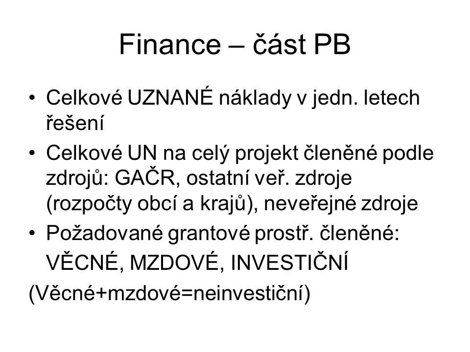 Finance – část PB Celkové UZNANÉ náklady v jedn. letech řešení Celkové UN na celý projekt členěné podle zdrojů: GAČR, ostatní veř. zdroje (rozpočty ob