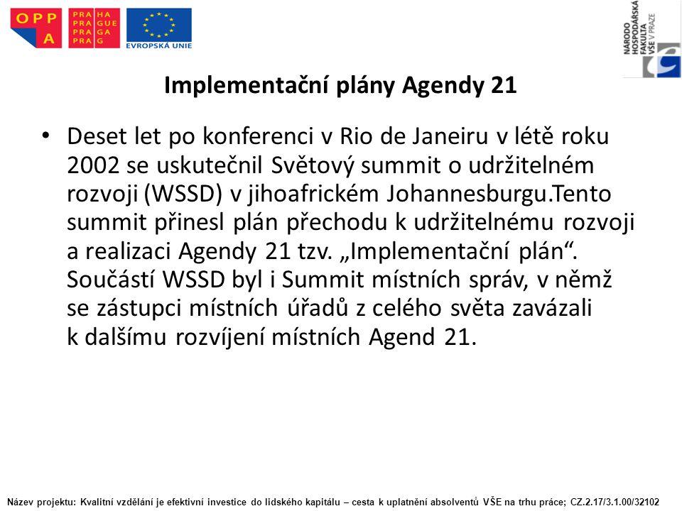 Implementační plány Agendy 21 Deset let po konferenci v Rio de Janeiru v létě roku 2002 se uskutečnil Světový summit o udržitelném rozvoji (WSSD) v jihoafrickém Johannesburgu.Tento summit přinesl plán přechodu k udržitelnému rozvoji a realizaci Agendy 21 tzv.
