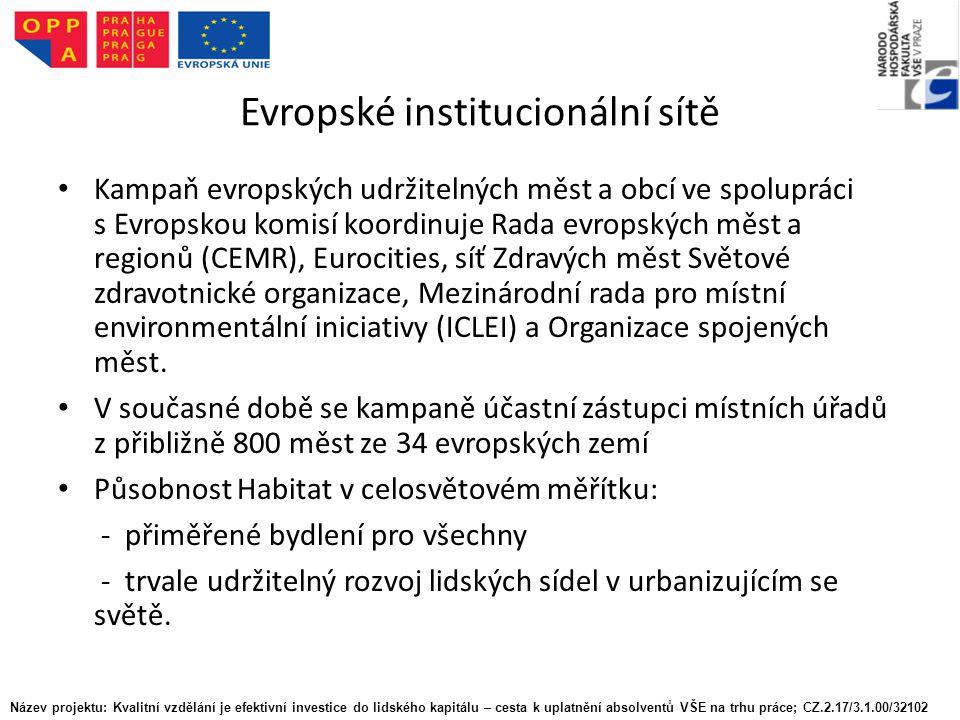 Evropské institucionální sítě Kampaň evropských udržitelných měst a obcí ve spolupráci s Evropskou komisí koordinuje Rada evropských měst a regionů (CEMR), Eurocities, síť Zdravých měst Světové zdravotnické organizace, Mezinárodní rada pro místní environmentální iniciativy (ICLEI) a Organizace spojených měst.