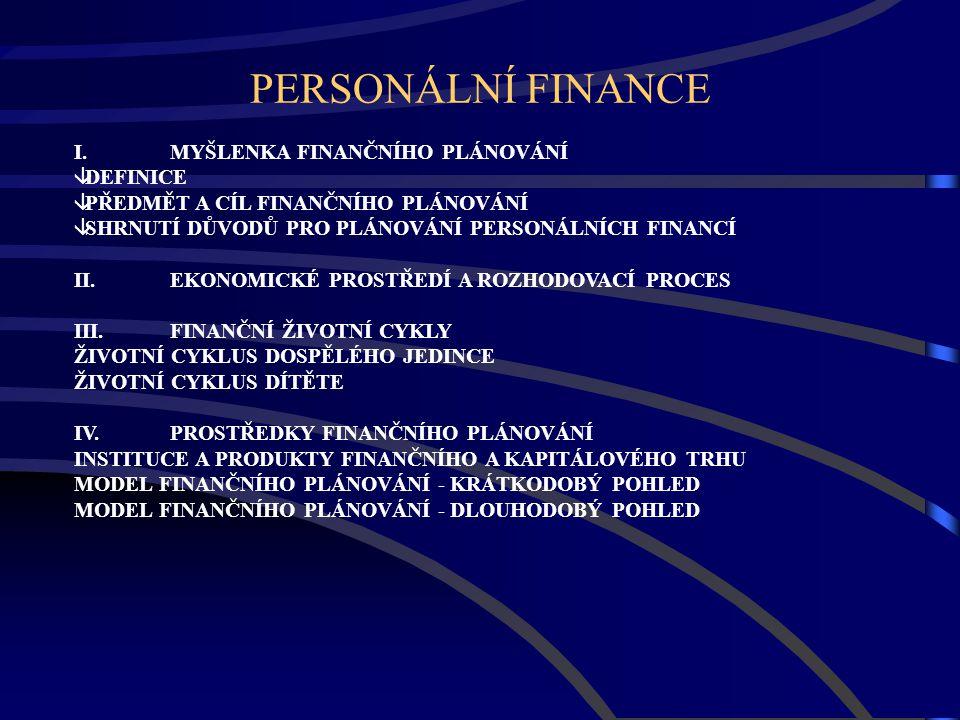 PERSONÁLNÍ FINANCE I. MYŠLENKA FINANČNÍHO PLÁNOVÁNÍ  DEFINICE  PŘEDMĚT A CÍL FINANČNÍHO PLÁNOVÁNÍ  SHRNUTÍ DŮVODŮ PRO PLÁNOVÁNÍ PERSONÁLNÍCH FINANC