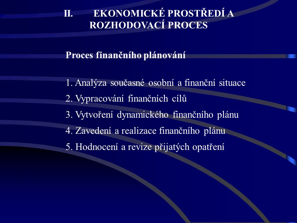 Proces finančního plánování 1. Analýza současné osobní a finanční situace 2. Vypracování finančních cílů 3. Vytvoření dynamického finančního plánu 4.