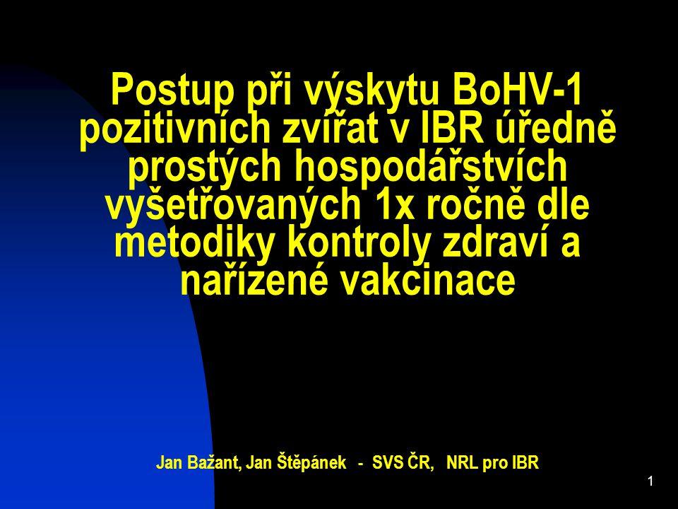 Postup při výskytu BoHV-1 pozitivních zvířat v IBR úředně prostých hospodářstvích vyšetřovaných 1x ročně dle metodiky kontroly zdraví a nařízené vakci