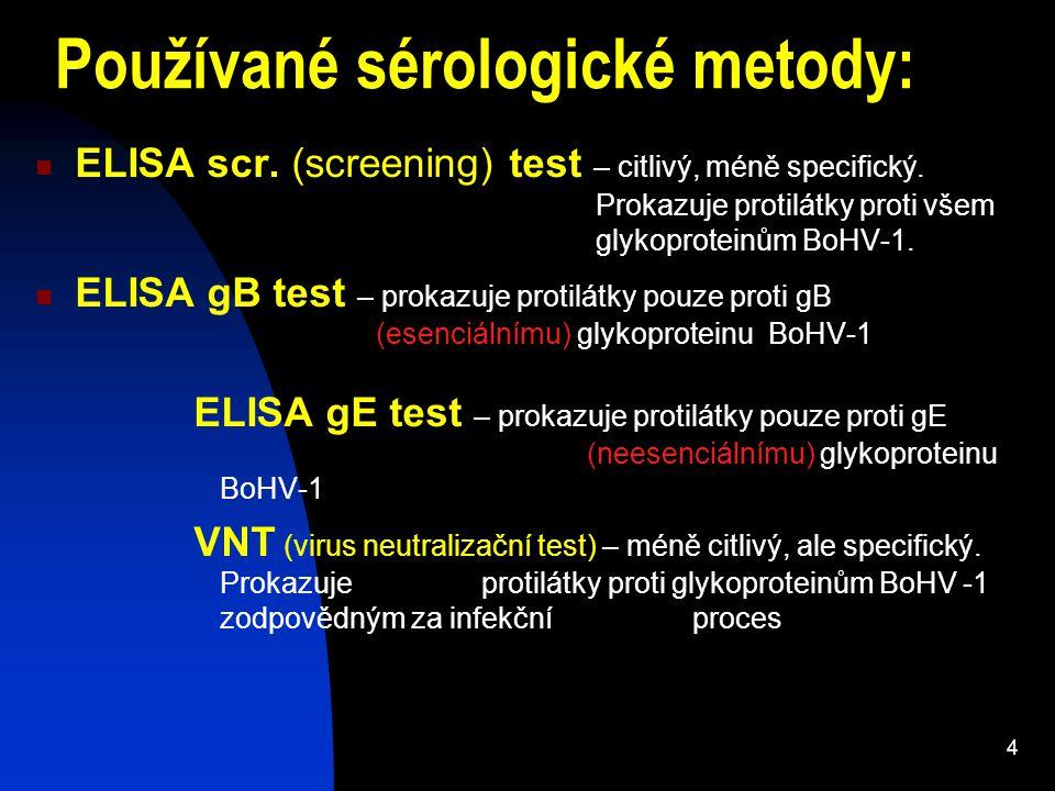 Používané sérologické metody: ELISA scr. (screening) test – citlivý, méně specifický. Prokazuje protilátky proti všem glykoproteinům BoHV-1. ELISA gB
