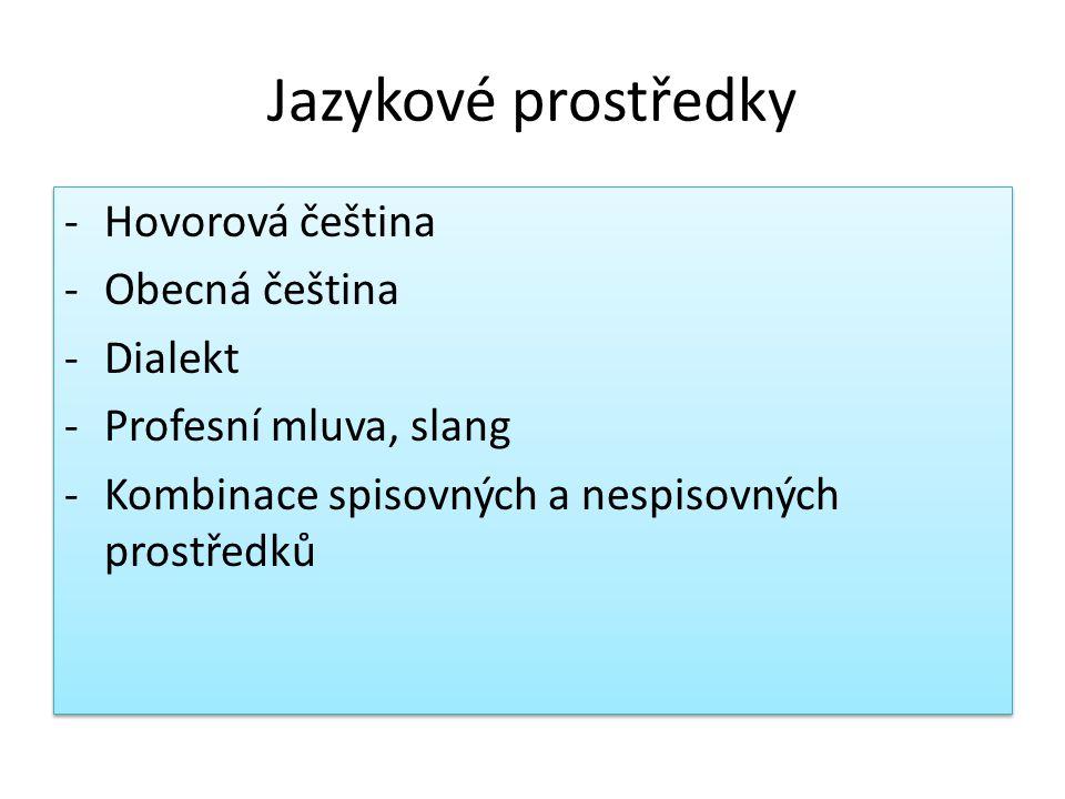 Jazykové prostředky -Hovorová čeština -Obecná čeština -Dialekt -Profesní mluva, slang -Kombinace spisovných a nespisovných prostředků -Hovorová čeština -Obecná čeština -Dialekt -Profesní mluva, slang -Kombinace spisovných a nespisovných prostředků