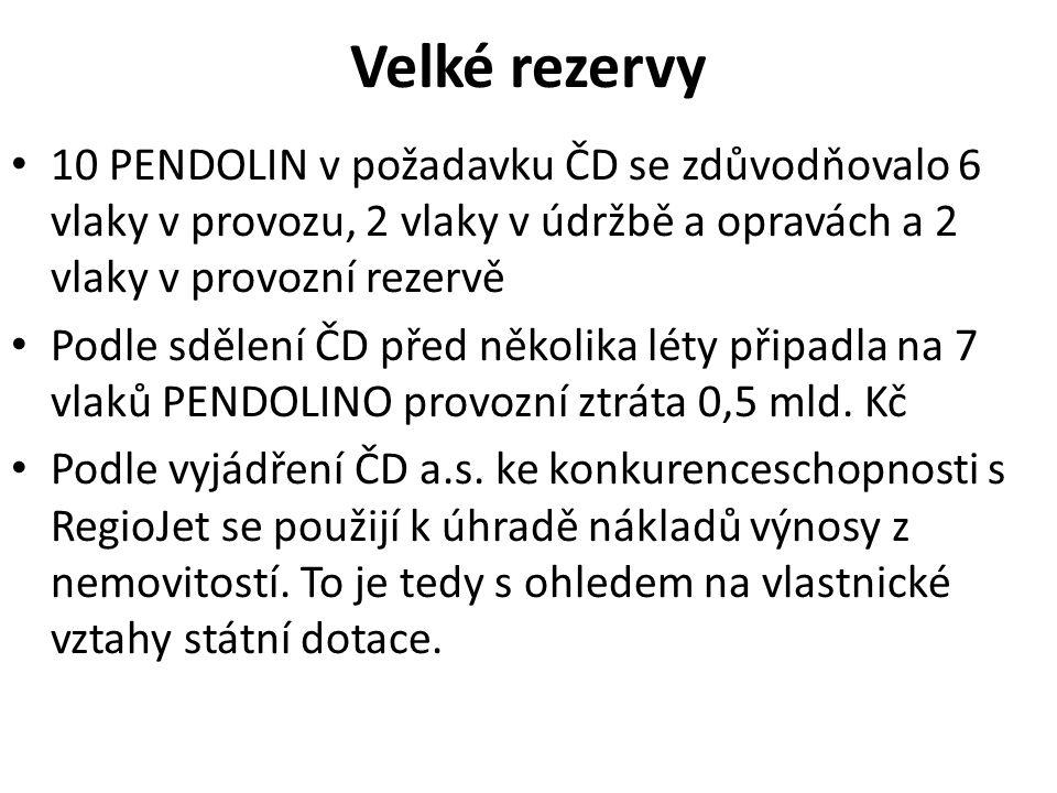 Velké rezervy 10 PENDOLIN v požadavku ČD se zdůvodňovalo 6 vlaky v provozu, 2 vlaky v údržbě a opravách a 2 vlaky v provozní rezervě Podle sdělení ČD před několika léty připadla na 7 vlaků PENDOLINO provozní ztráta 0,5 mld.