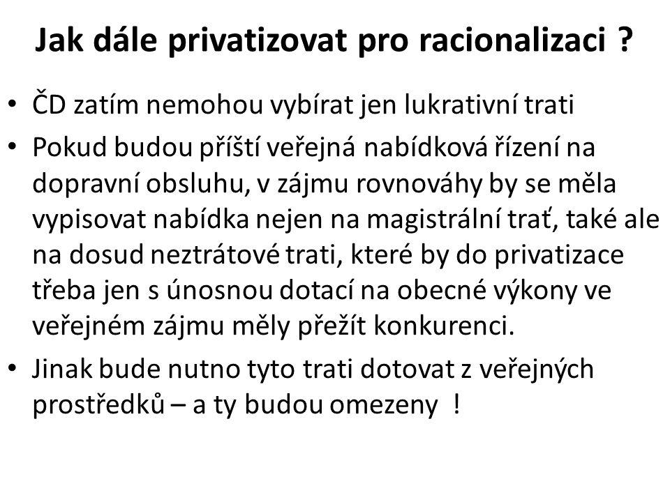 Jak dále privatizovat pro racionalizaci .