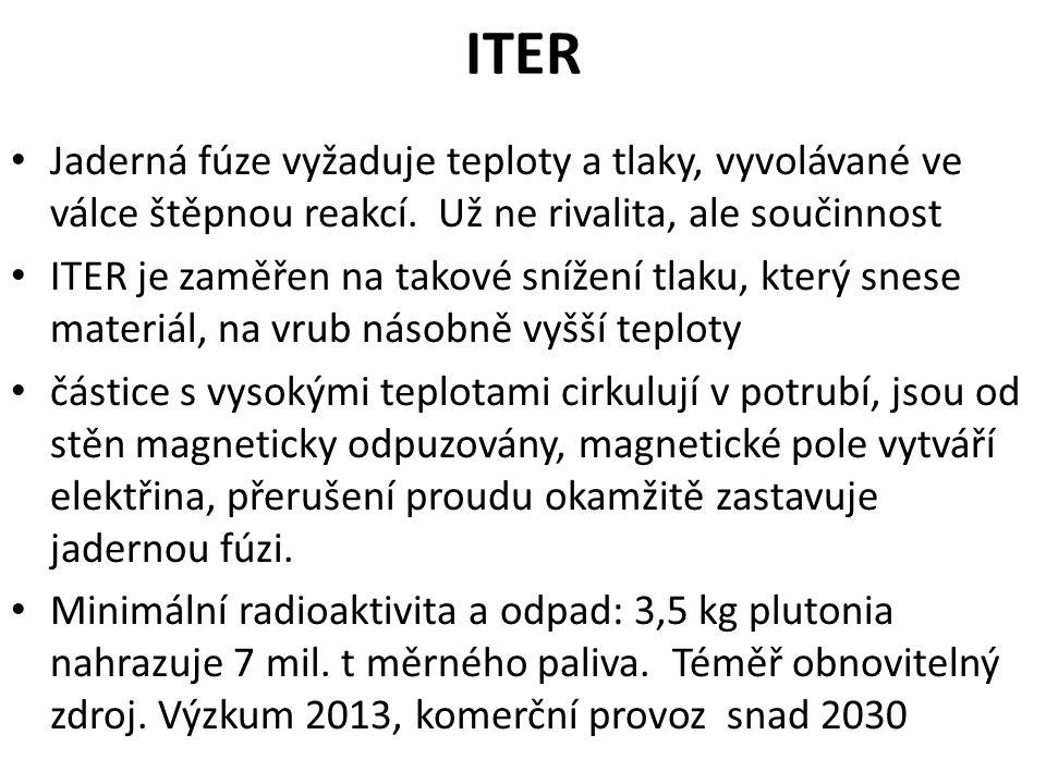 ITER Jaderná fúze vyžaduje teploty a tlaky, vyvolávané ve válce štěpnou reakcí.