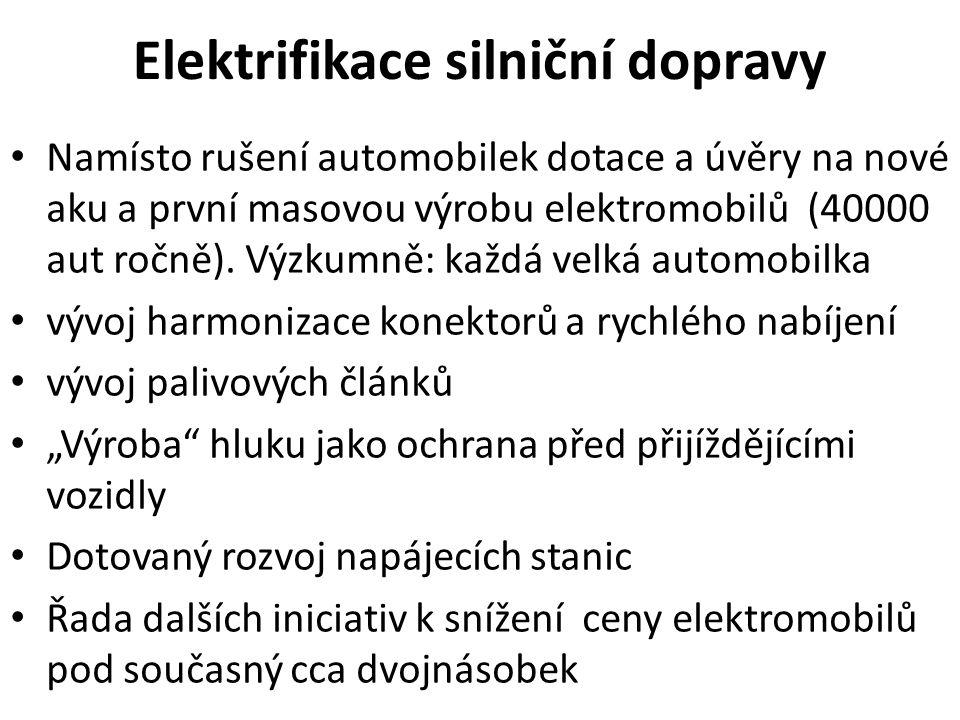 Elektrifikace silniční dopravy Namísto rušení automobilek dotace a úvěry na nové aku a první masovou výrobu elektromobilů (40000 aut ročně).