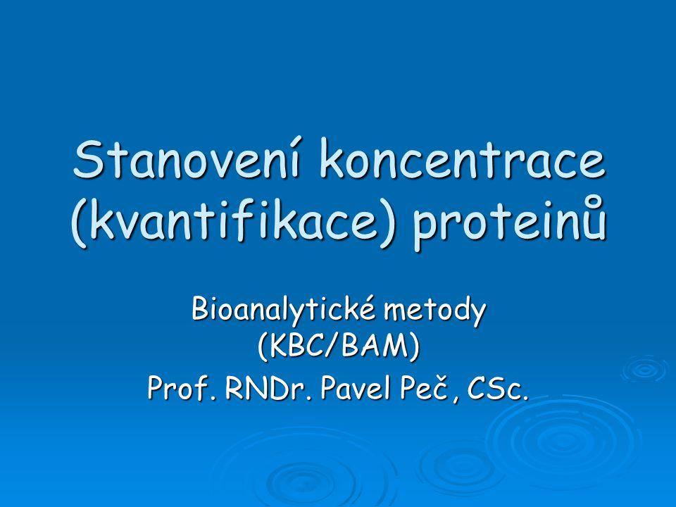 Stanovení koncentrace (kvantifikace) proteinů Bioanalytické metody (KBC/BAM) Prof.