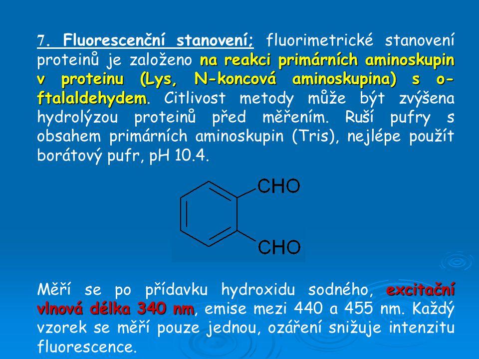 na reakci primárních aminoskupin v proteinu (Lys, N-koncová aminoskupina) s o- ftalaldehydem 7.