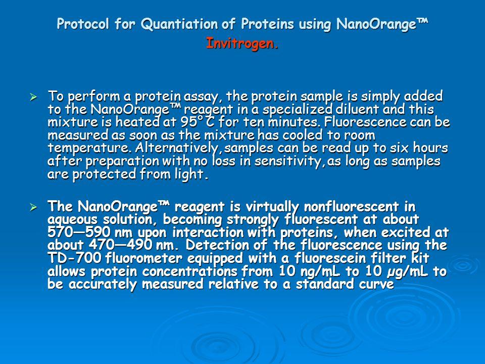 Protocol for Quantiation of Proteins using NanoOrange™ Invitrogen.