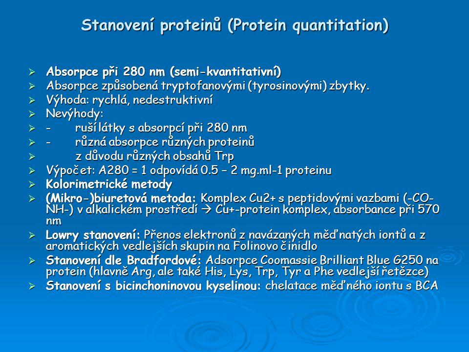 Stanovení proteinů (Protein quantitation)  Absorpce při 280 nm (semi-kvantitativní)  Absorpce způsobená tryptofanovými (tyrosinovými) zbytky.