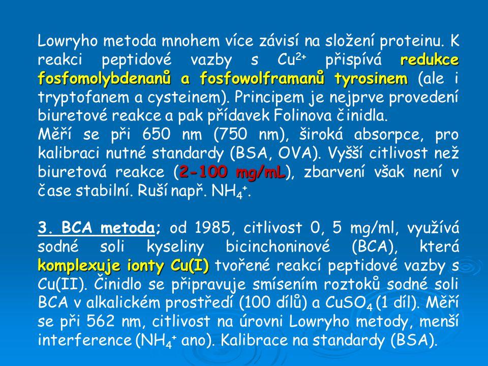 redukce fosfomolybdenanů a fosfowolframanů tyrosinem Lowryho metoda mnohem více závisí na složení proteinu.