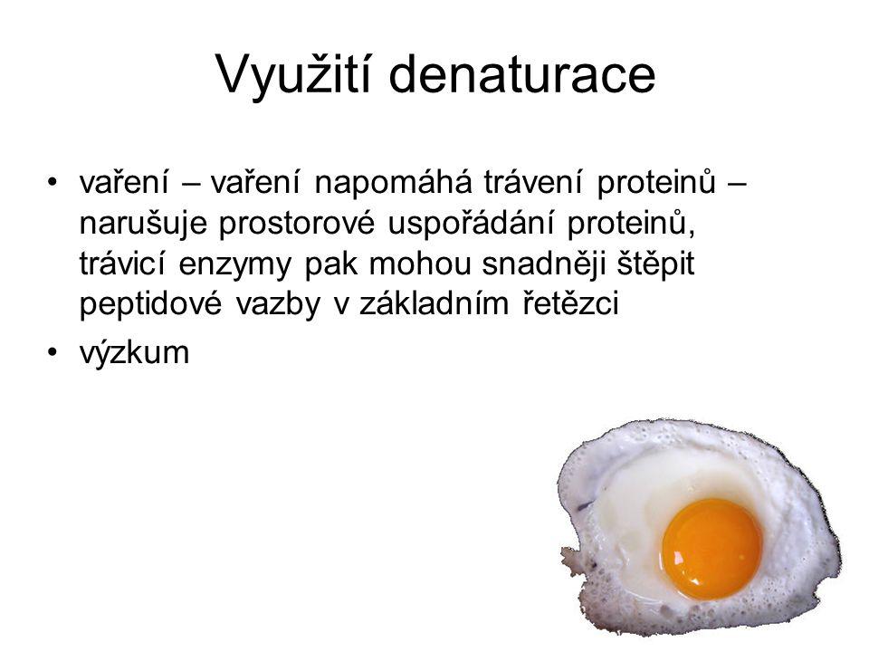 Využití denaturace vaření – vaření napomáhá trávení proteinů – narušuje prostorové uspořádání proteinů, trávicí enzymy pak mohou snadněji štěpit pepti