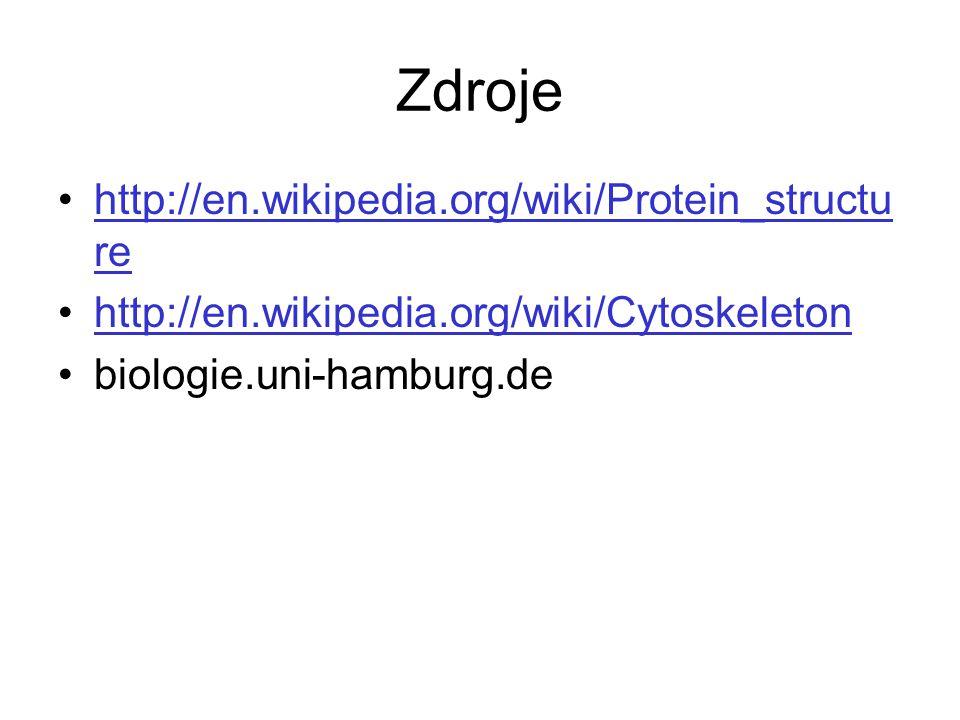 Zdroje http://en.wikipedia.org/wiki/Protein_structu rehttp://en.wikipedia.org/wiki/Protein_structu re http://en.wikipedia.org/wiki/Cytoskeleton biolog