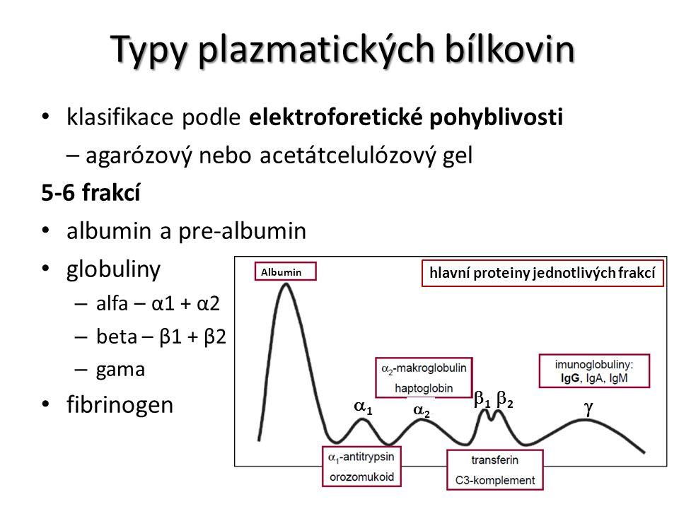 Typy plazmatických bílkovin klasifikace podle elektroforetické pohyblivosti – agarózový nebo acetátcelulózový gel 5-6 frakcí albumin a pre-albumin glo