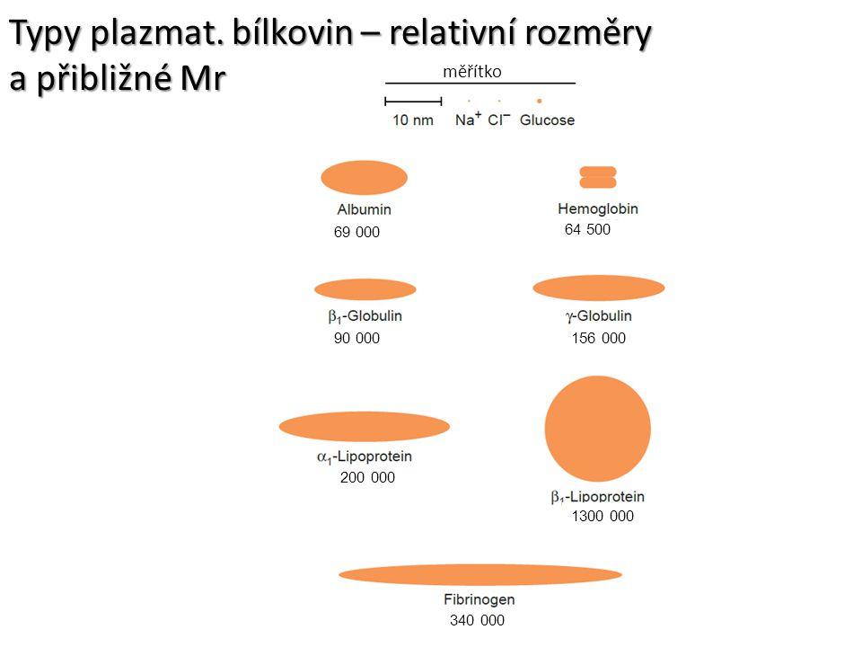 měřítko 69 000 64 500 90 000156 000 200 000 340 000 1300 000 Typy plazmat. bílkovin – relativní rozměry a přibližné Mr