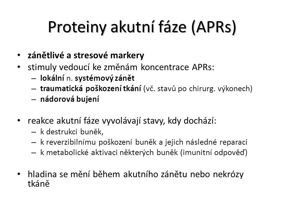 Proteiny akutní fáze (APRs) zánětlivé a stresové markery stimuly vedoucí ke změnám koncentrace APRs: – lokální n. systémový zánět – traumatická poškoz