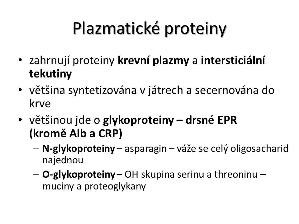 Plazmatické proteiny zahrnují proteiny krevní plazmy a intersticiální tekutiny většina syntetizována v játrech a secernována do krve většinou jde o gl
