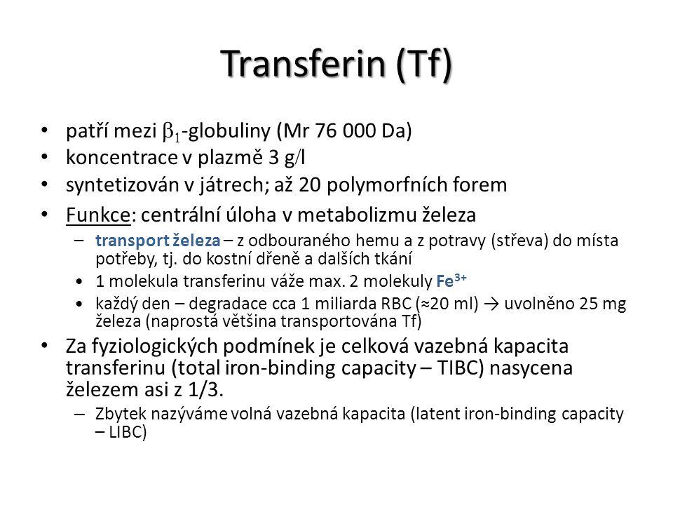 Transferin (Tf) patří mezi   -globuliny (Mr 76 000 Da) koncentrace v plazmě 3 g  l syntetizován v játrech; až 20 polymorfních forem Funkce: centrál