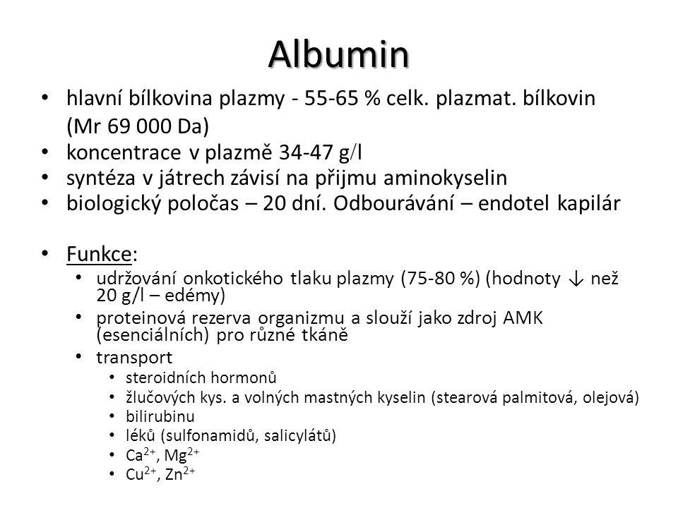 Albumin hlavní bílkovina plazmy - 55-65 % celk. plazmat. bílkovin (Mr 69 000 Da) koncentrace v plazmě 34-47 g  l syntéza v játrech závisí na přijmu a
