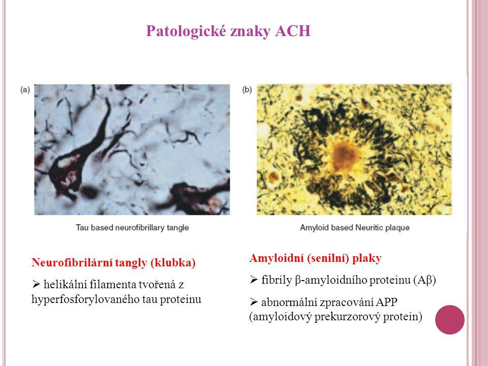 Patologické znaky ACH Neurofibrilární tangly (klubka)  helikální filamenta tvořená z hyperfosforylovaného tau proteinu Amyloidní (senilní) plaky  fibrily β-amyloidního proteinu (Aβ)  abnormální zpracování APP (amyloidový prekurzorový protein)