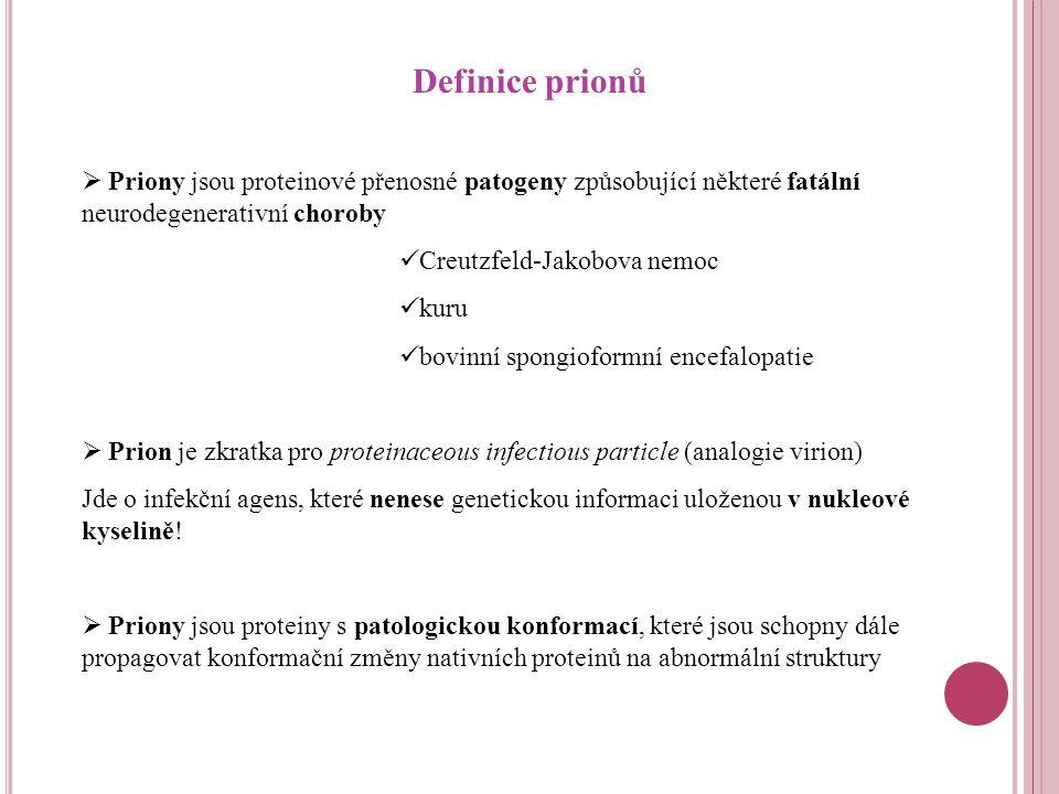 Definice prionů  Priony jsou proteinové přenosné patogeny způsobující některé fatální neurodegenerativní choroby Creutzfeld-Jakobova nemoc kuru bovinní spongioformní encefalopatie  Prion je zkratka pro proteinaceous infectious particle (analogie virion) Jde o infekční agens, které nenese genetickou informaci uloženou v nukleové kyselině.