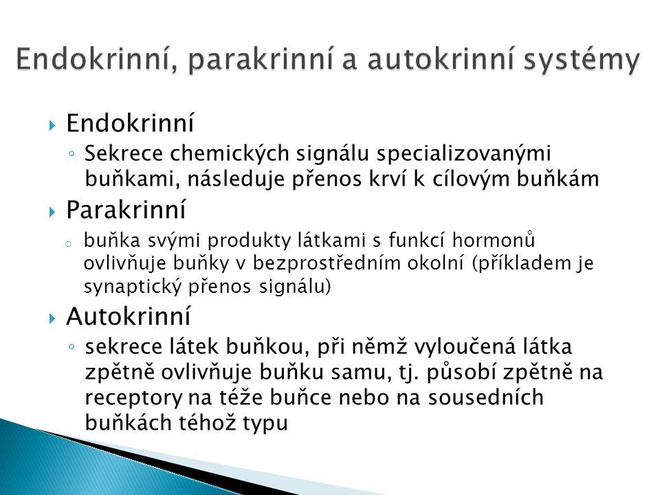  Endokrinní ◦ Sekrece chemických signálu specializovanými buňkami, následuje přenos krví k cílovým buňkám  Parakrinní o buňka svými produkty látkami