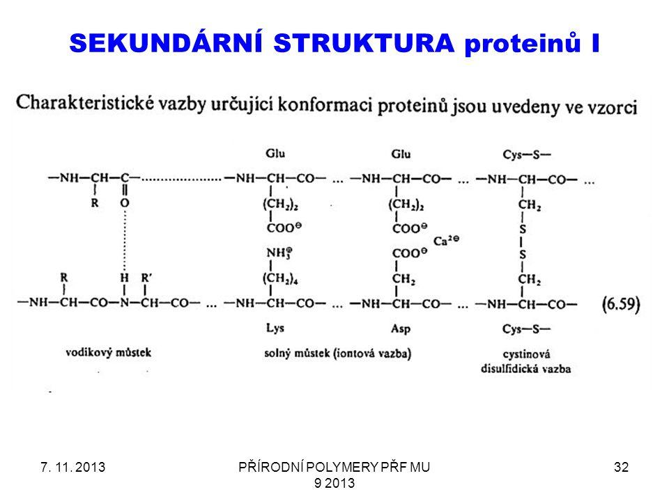 SEKUNDÁRNÍ STRUKTURA proteinů I 7. 11. 2013PŘÍRODNÍ POLYMERY PŘF MU 9 2013 32