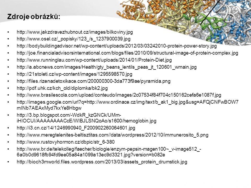 Zdroje obrázků: http://www.jakzdravezhubnout.cz/images/bilkoviny.jpg http://www.osel.cz/_popisky/123_/s_1237900039.jpg http://bodybuildingadvisor.net/