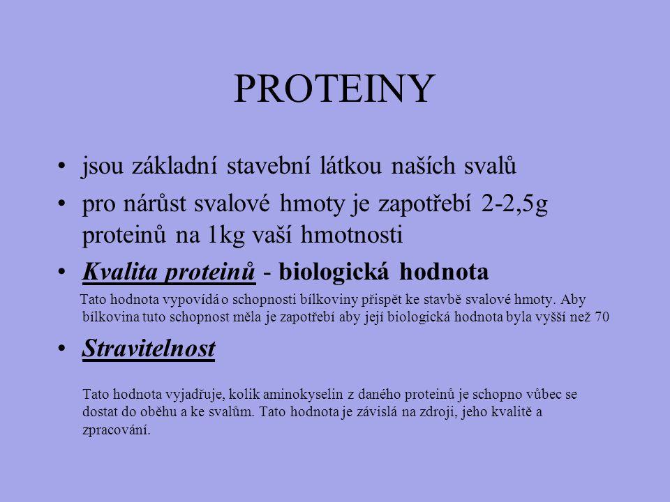 PROTEINY jsou základní stavební látkou naších svalů pro nárůst svalové hmoty je zapotřebí 2-2,5g proteinů na 1kg vaší hmotnosti Kvalita proteinů - biologická hodnota Tato hodnota vypovídá o schopnosti bílkoviny přispět ke stavbě svalové hmoty.