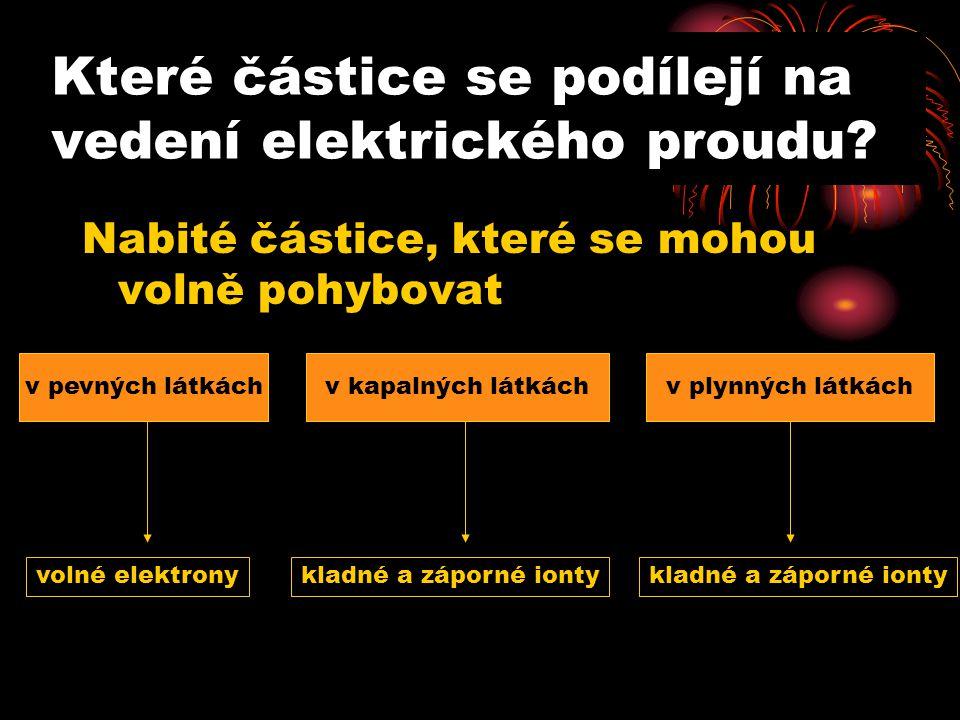 Které částice se podílejí na vedení elektrického proudu.
