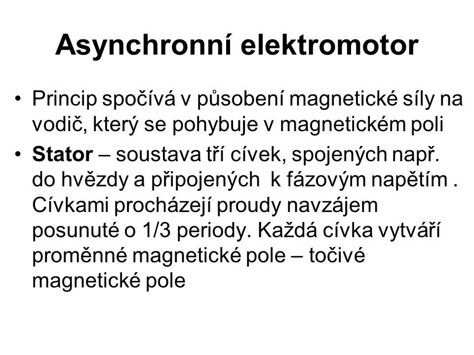 Asynchronní elektromotor Princip spočívá v působení magnetické síly na vodič, který se pohybuje v magnetickém poli Stator – soustava tří cívek, spojen