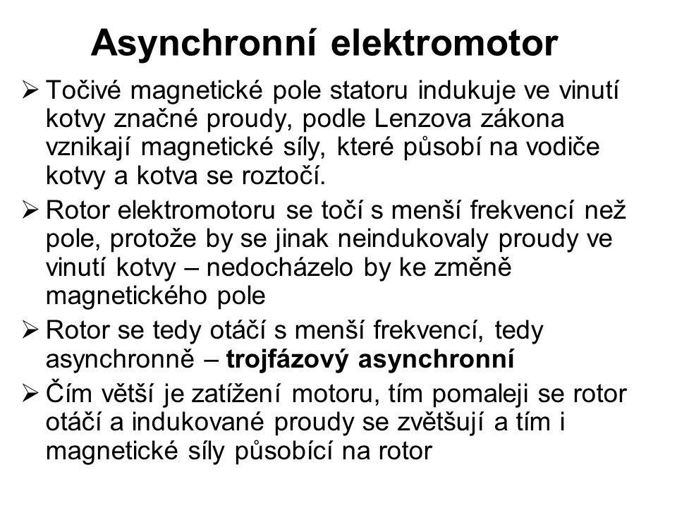 Asynchronní elektromotor  Točivé magnetické pole statoru indukuje ve vinutí kotvy značné proudy, podle Lenzova zákona vznikají magnetické síly, které