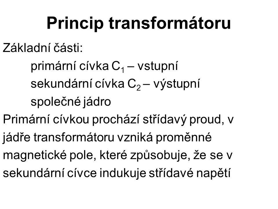 Princip transformátoru Základní části: primární cívka C 1 – vstupní sekundární cívka C 2 – výstupní společné jádro Primární cívkou prochází střídavý p