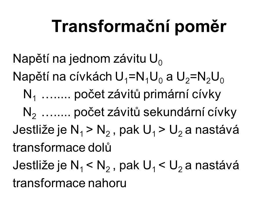 Transformační poměr Napětí na jednom závitu U 0 Napětí na cívkách U 1 =N 1 U 0 a U 2 =N 2 U 0 N 1 …..... počet závitů primární cívky N 2 …..... počet