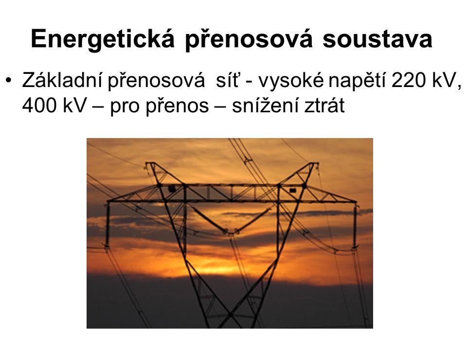 Energetická přenosová soustava Základní přenosová síť - vysoké napětí 220 kV, 400 kV – pro přenos – snížení ztrát