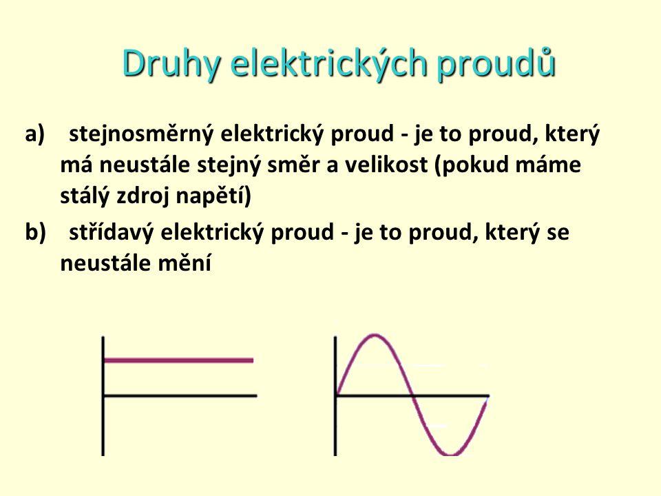 Druhy elektrických proudů a) stejnosměrný elektrický proud - je to proud, který má neustále stejný směr a velikost (pokud máme stálý zdroj napětí) b) střídavý elektrický proud - je to proud, který se neustále mění