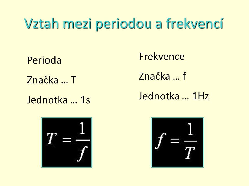 Vztah mezi periodou a frekvencí Perioda Značka … T Jednotka … 1s Frekvence Značka … f Jednotka … 1Hz