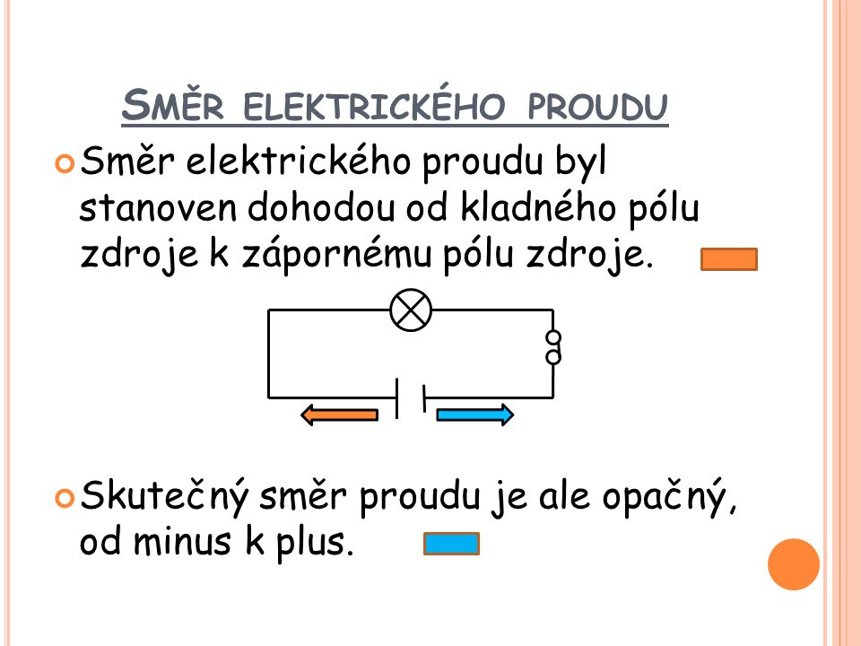 S MĚR ELEKTRICKÉHO PROUDU Směr elektrického proudu byl stanoven dohodou od kladného pólu zdroje k zápornému pólu zdroje. Skutečný směr proudu je ale o