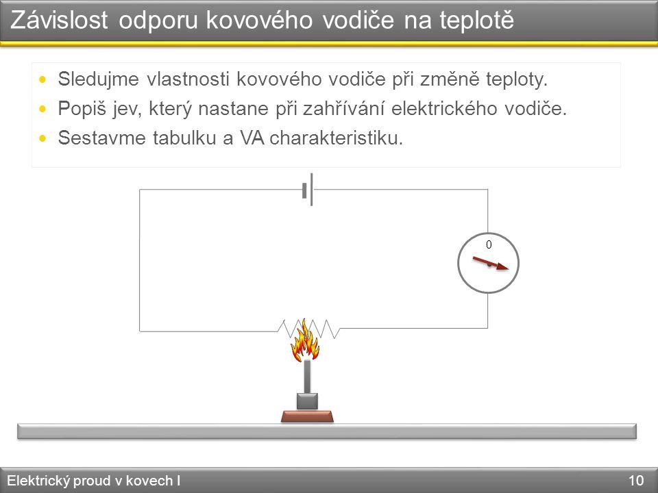 Závislost odporu kovového vodiče na teplotě Elektrický proud v kovech I 10 V A Sledujme vlastnosti kovového vodiče při změně teploty. Popiš jev, který