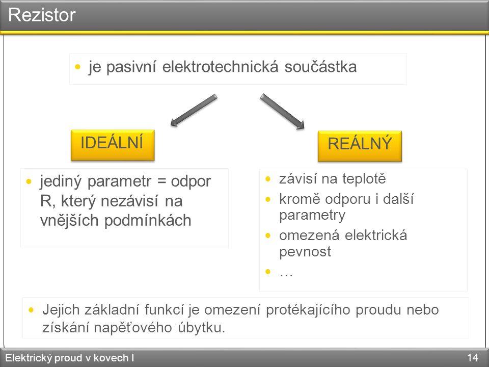 Rezistor Elektrický proud v kovech I 14 je pasivní elektrotechnická součástka IDEÁLNÍ REÁLNÝ jediný parametr = odpor R, který nezávisí na vnějších pod
