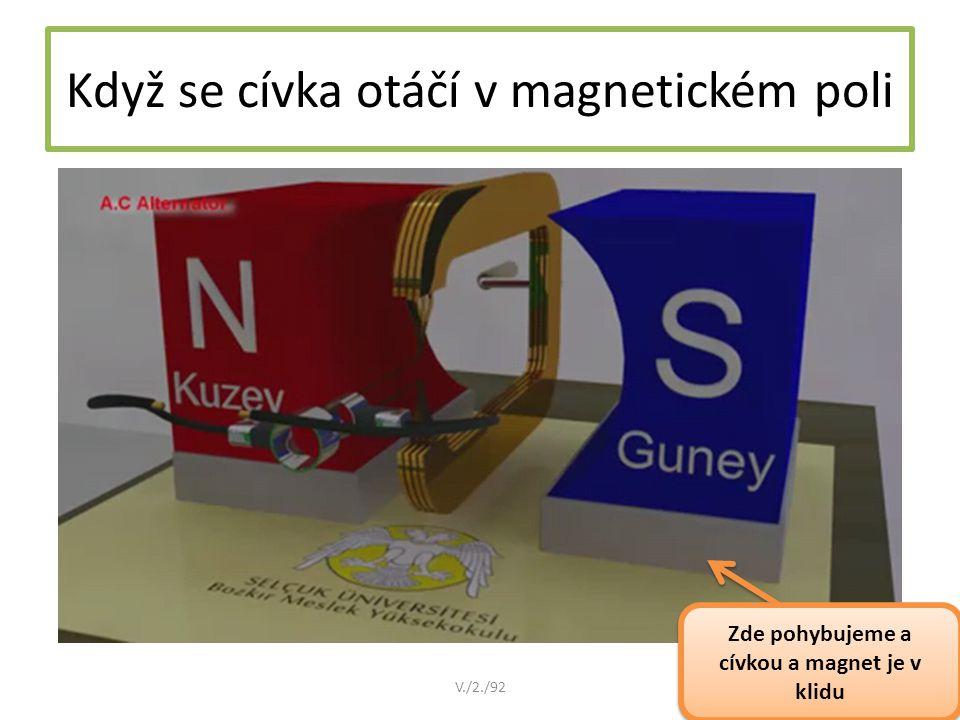 Pokračování zápisu: Zdrojem střídavého proudu je zařízení, které funguje na principu elektromagnetické indukce (pohybujeme magnetem v okolí cívky nebo pohybujeme cívkou v magnetickém poli) Takto vzniklý indukovaný proud má střídavý směr Takovému proudu říkáme proud střídavý V./2./92
