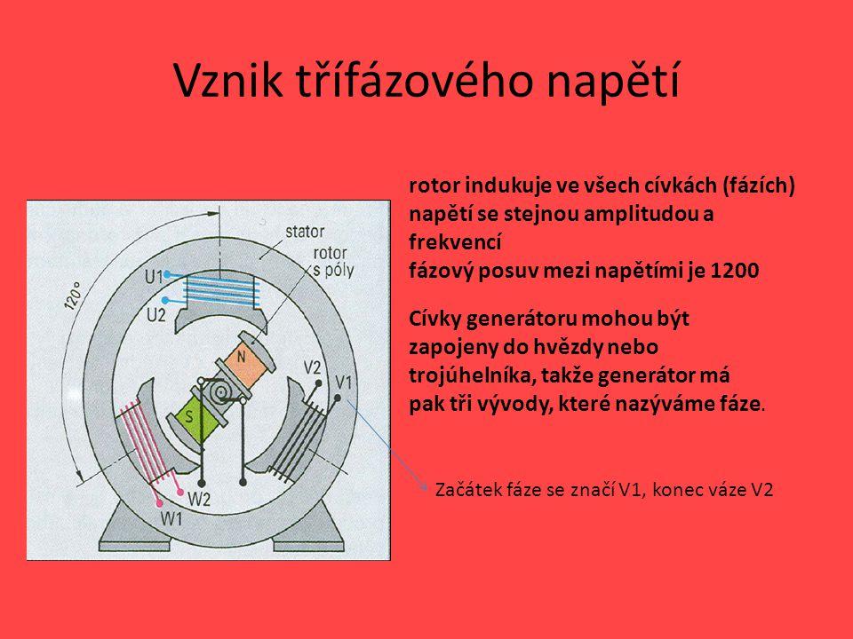 Třífázový proud Při zapojení cívek do hvězdy vznikne kromě tří fází ještě vodič s nulovým elektrickým potenciálem, který se nazývá nulovací vodič.