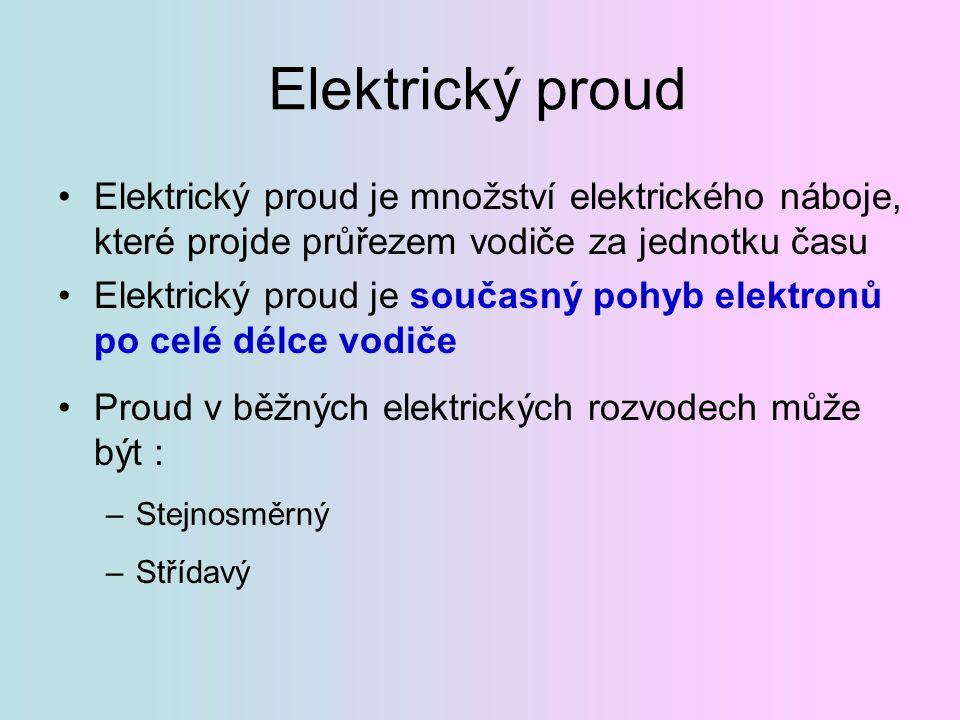Elektrický proud Elektrický proud je množství elektrického náboje, které projde průřezem vodiče za jednotku času Elektrický proud je současný pohyb el