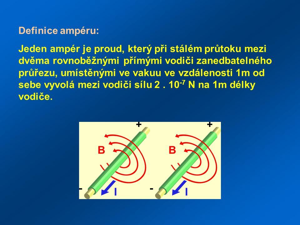 Definice ampéru: Jeden ampér je proud, který při stálém průtoku mezi dvěma rovnoběžnými přímými vodiči zanedbatelného průřezu, umístěnými ve vakuu ve vzdálenosti 1m od sebe vyvolá mezi vodiči sílu 2.
